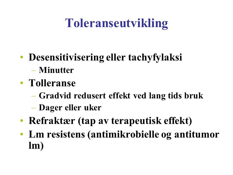 Toleranseutvikling Desensitivisering eller tachyfylaksi Tolleranse