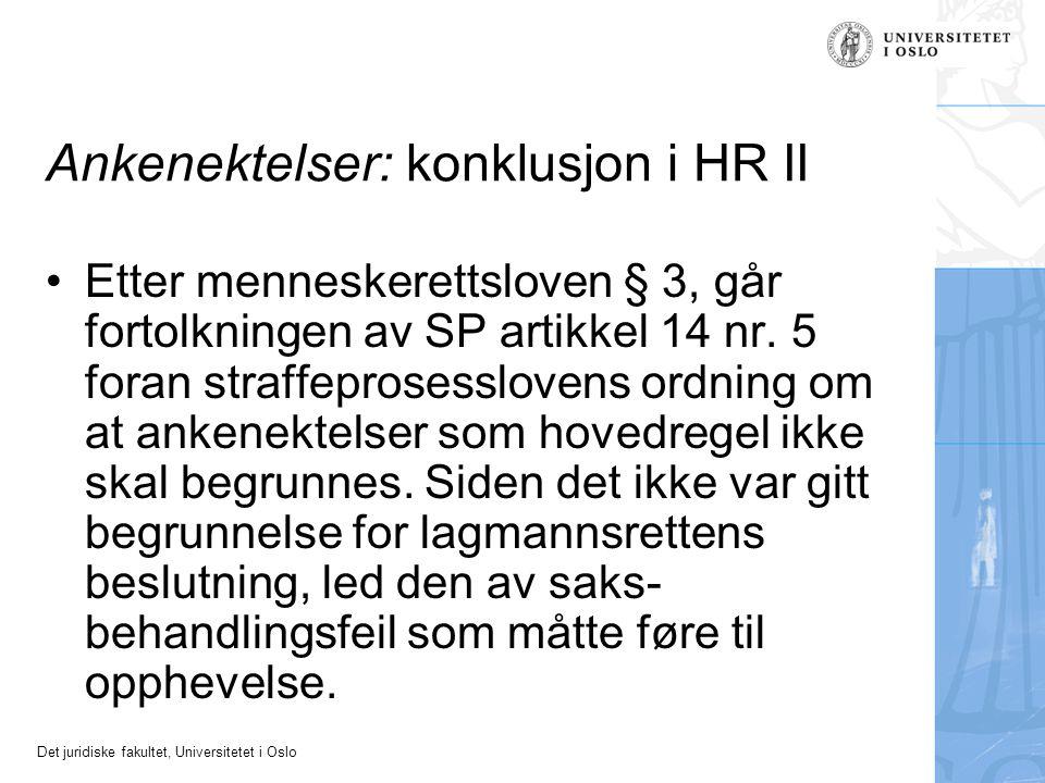 Ankenektelser: konklusjon i HR II