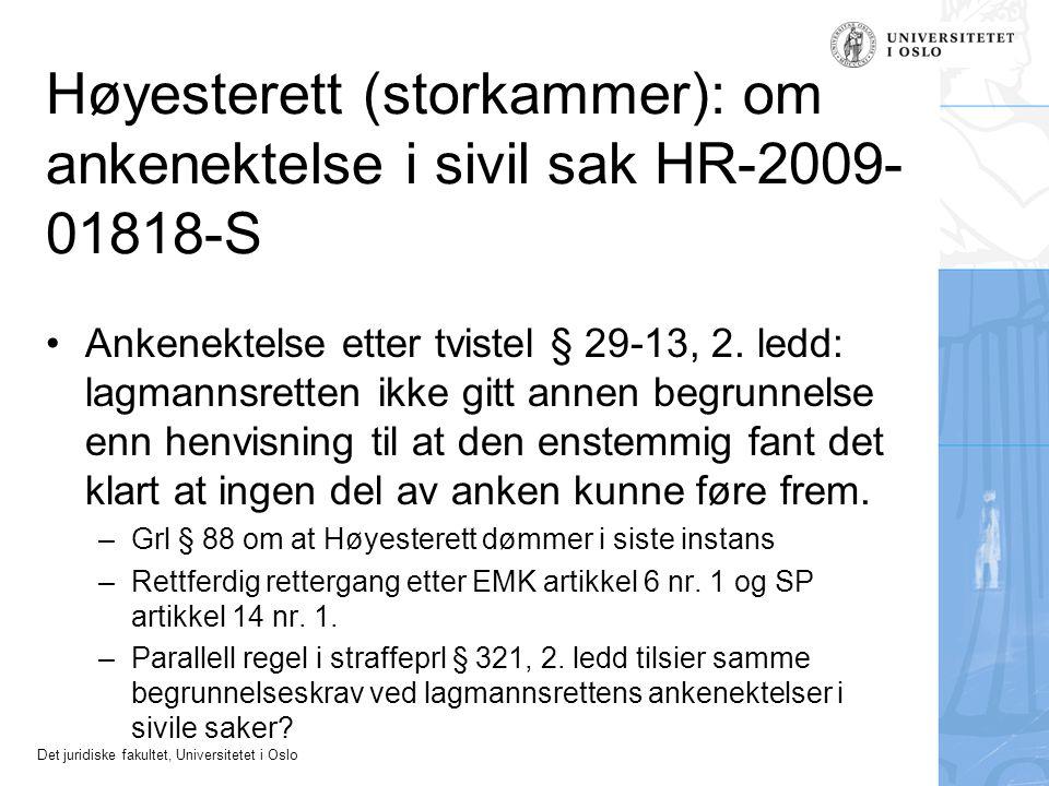 Høyesterett (storkammer): om ankenektelse i sivil sak HR-2009-01818-S