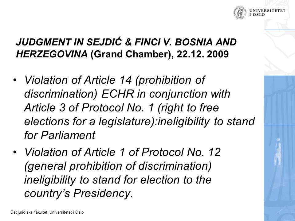 JUDGMENT IN SEJDIĆ & FINCI V