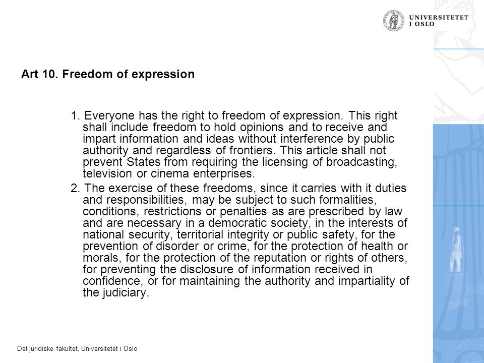 Art 10. Freedom of expression