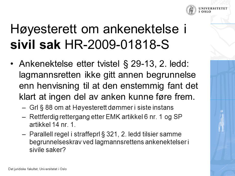 Høyesterett om ankenektelse i sivil sak HR-2009-01818-S