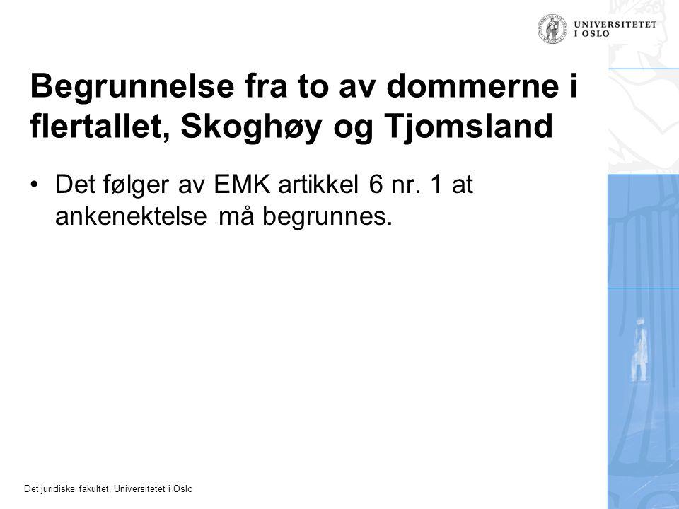 Begrunnelse fra to av dommerne i flertallet, Skoghøy og Tjomsland