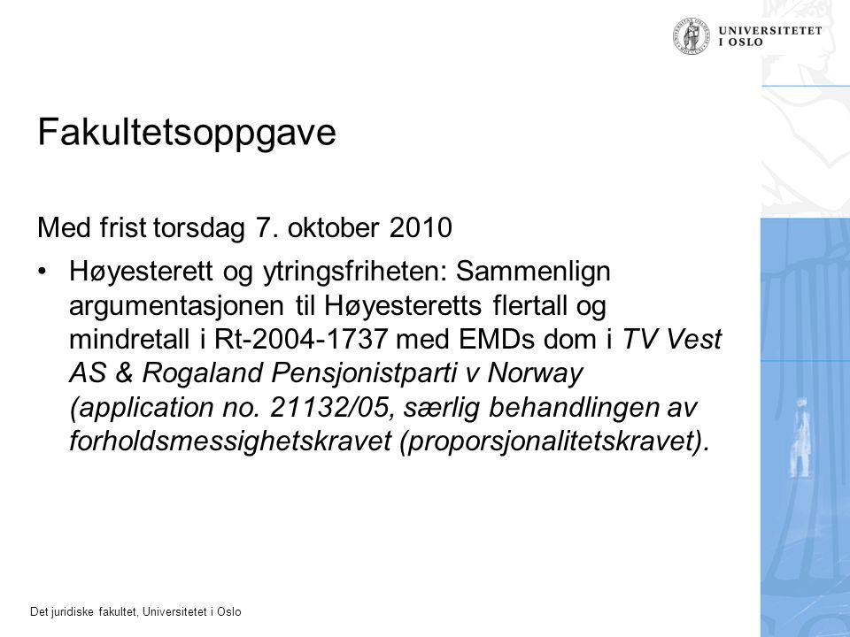 Fakultetsoppgave Med frist torsdag 7. oktober 2010