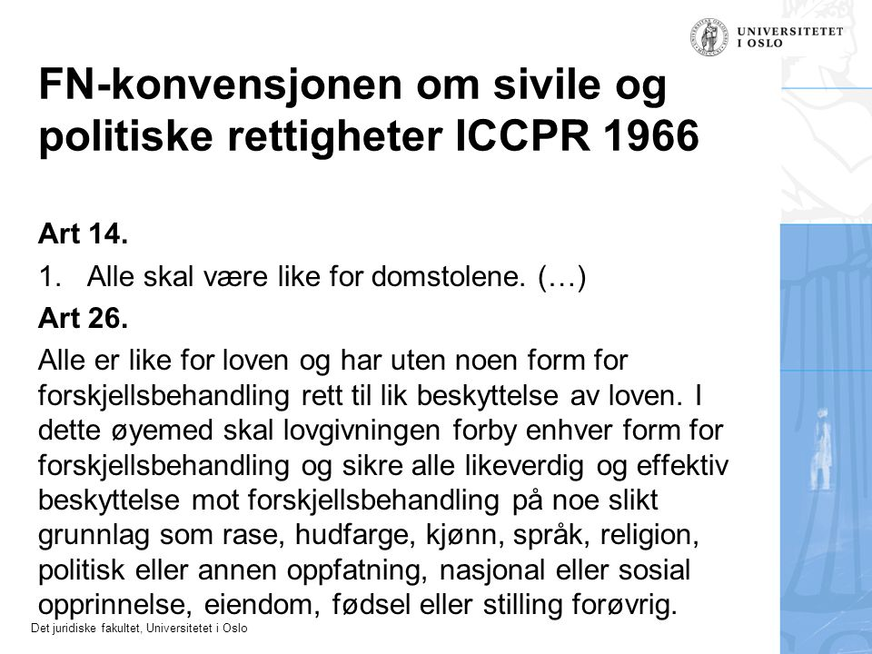 FN-konvensjonen om sivile og politiske rettigheter ICCPR 1966