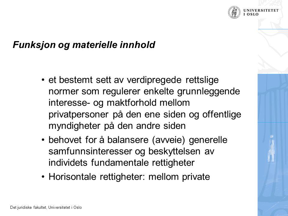 Funksjon og materielle innhold