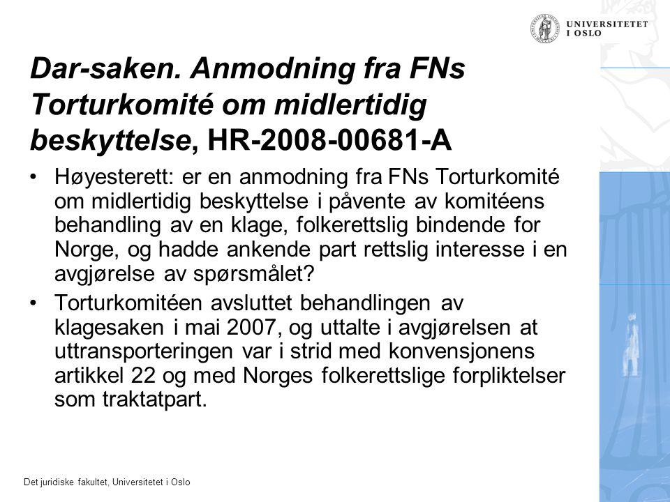 Dar-saken. Anmodning fra FNs Torturkomité om midlertidig beskyttelse, HR-2008-00681-A