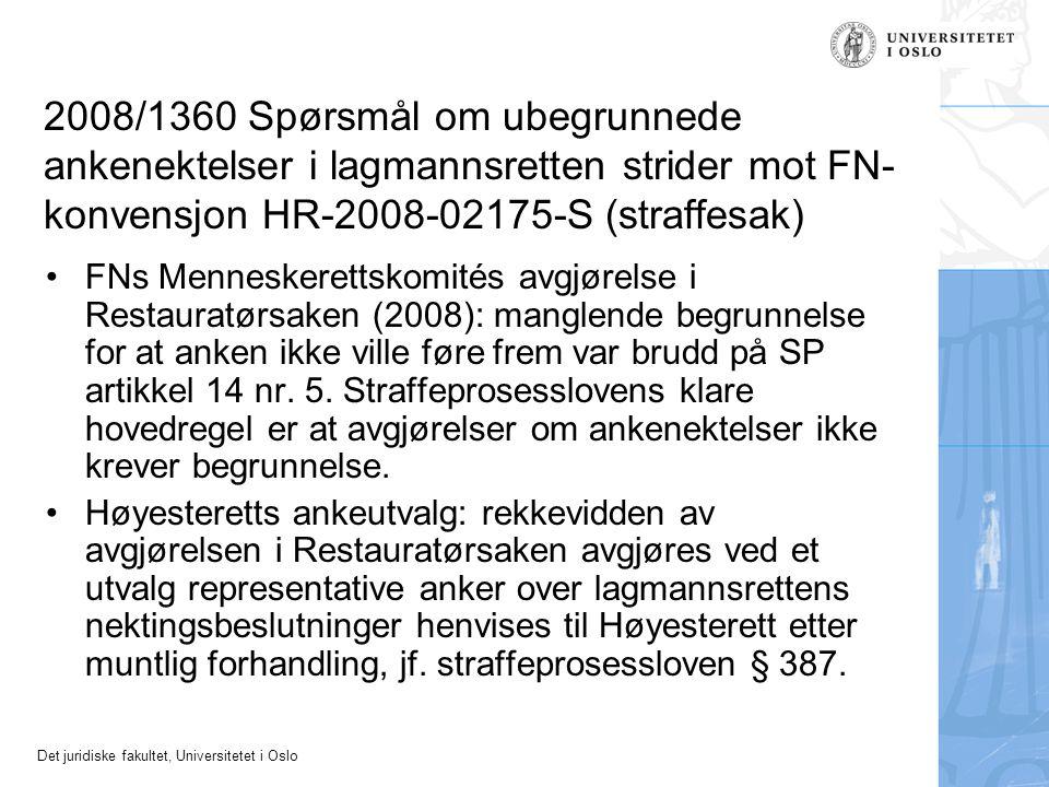 2008/1360 Spørsmål om ubegrunnede ankenektelser i lagmannsretten strider mot FN-konvensjon HR-2008-02175-S (straffesak)