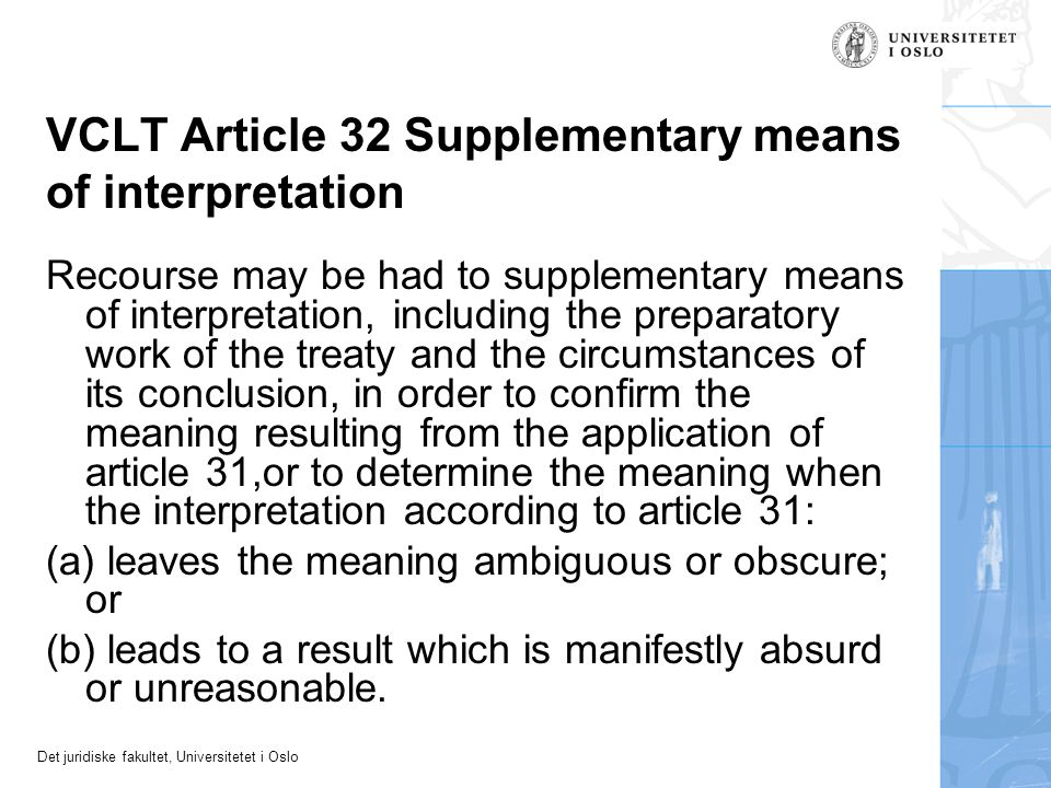 VCLT Article 32 Supplementary means of interpretation