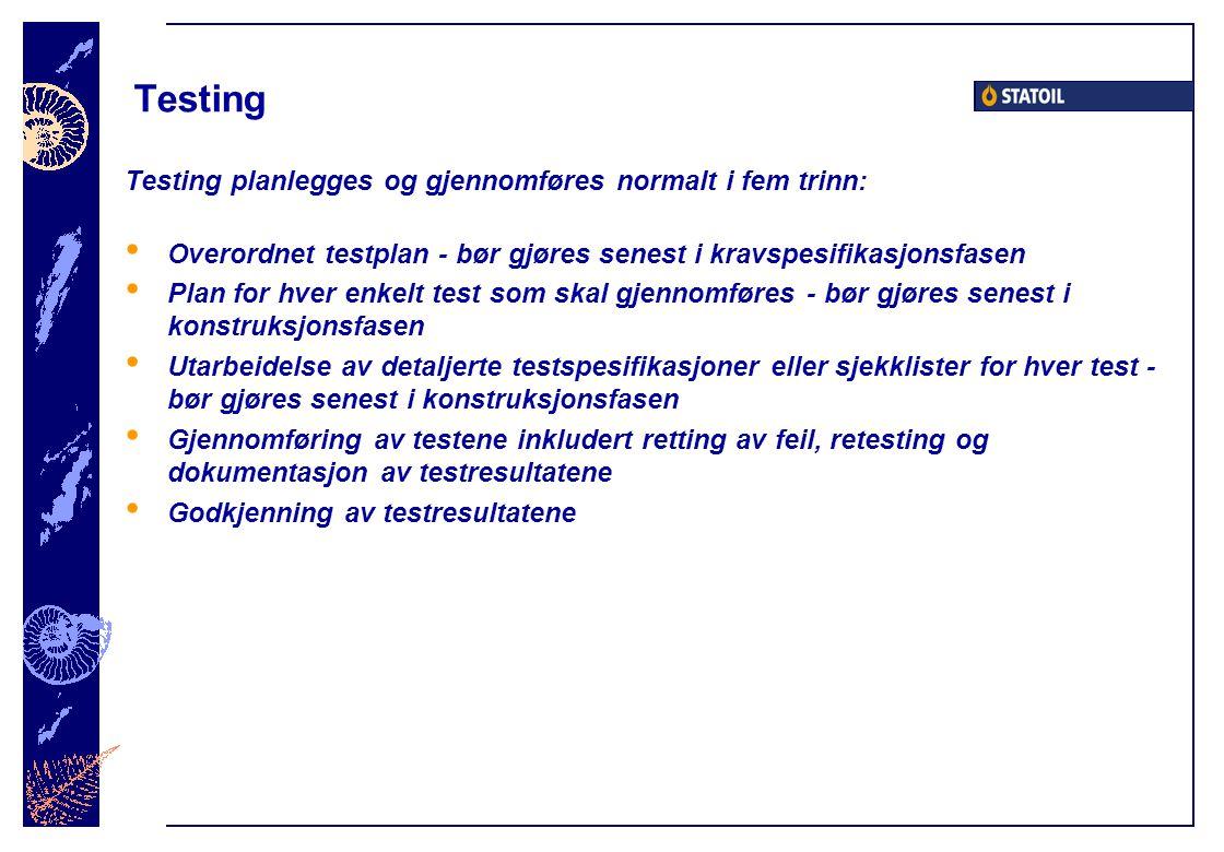 Testing Testing planlegges og gjennomføres normalt i fem trinn: