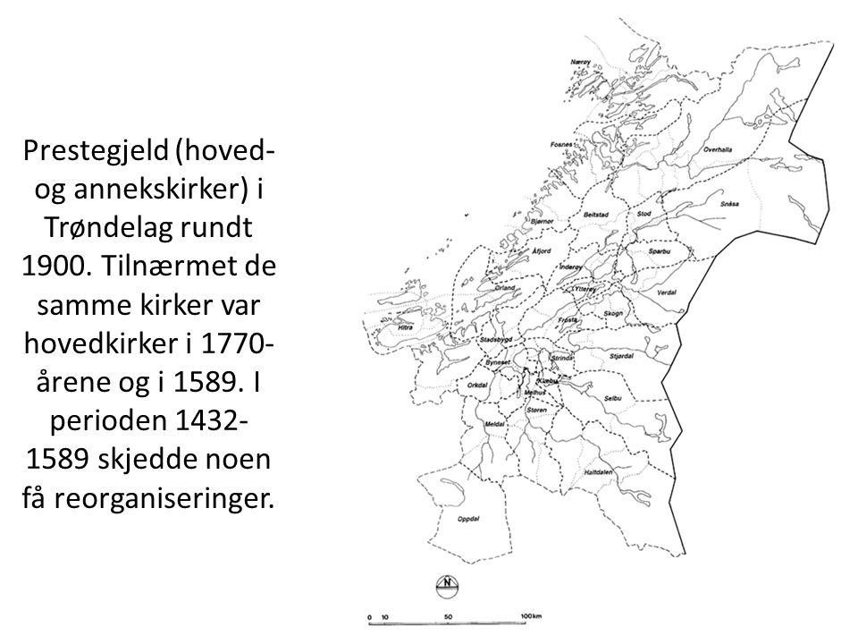 Prestegjeld (hoved- og annekskirker) i Trøndelag rundt 1900