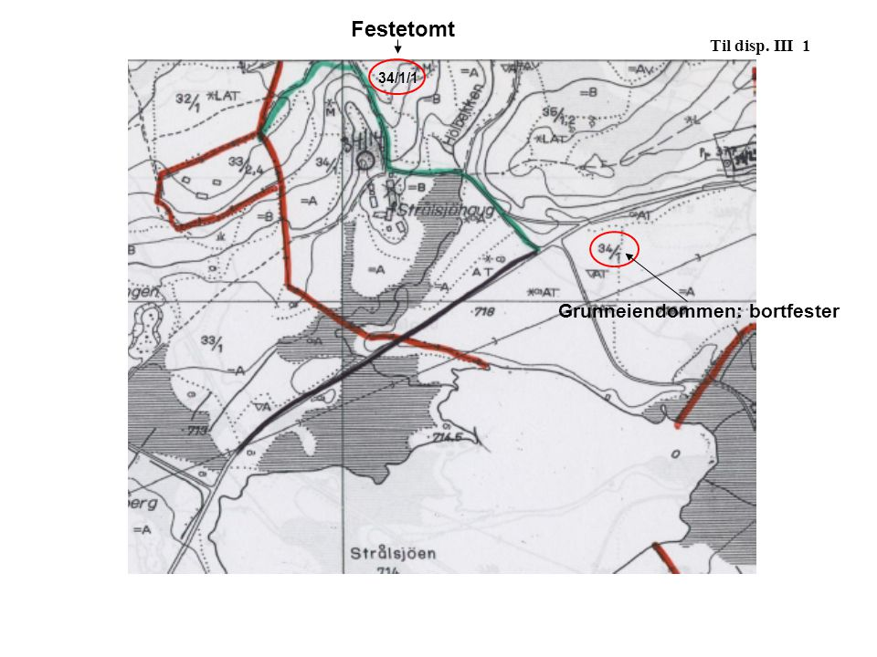 Festetomt Til disp. III 1 34/1/1 Grunneiendommen: bortfester