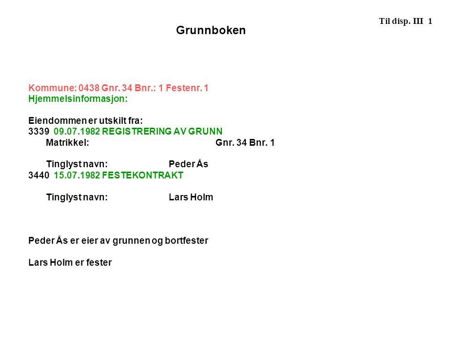Grunnboken Til disp. III 1 Kommune: 0438 Gnr. 34 Bnr.: 1 Festenr. 1