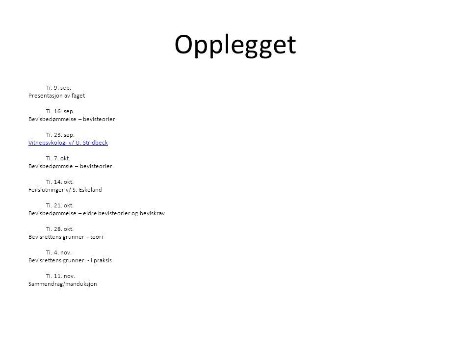 Opplegget Ti. 9. sep. Presentasjon av faget Ti. 16. sep.