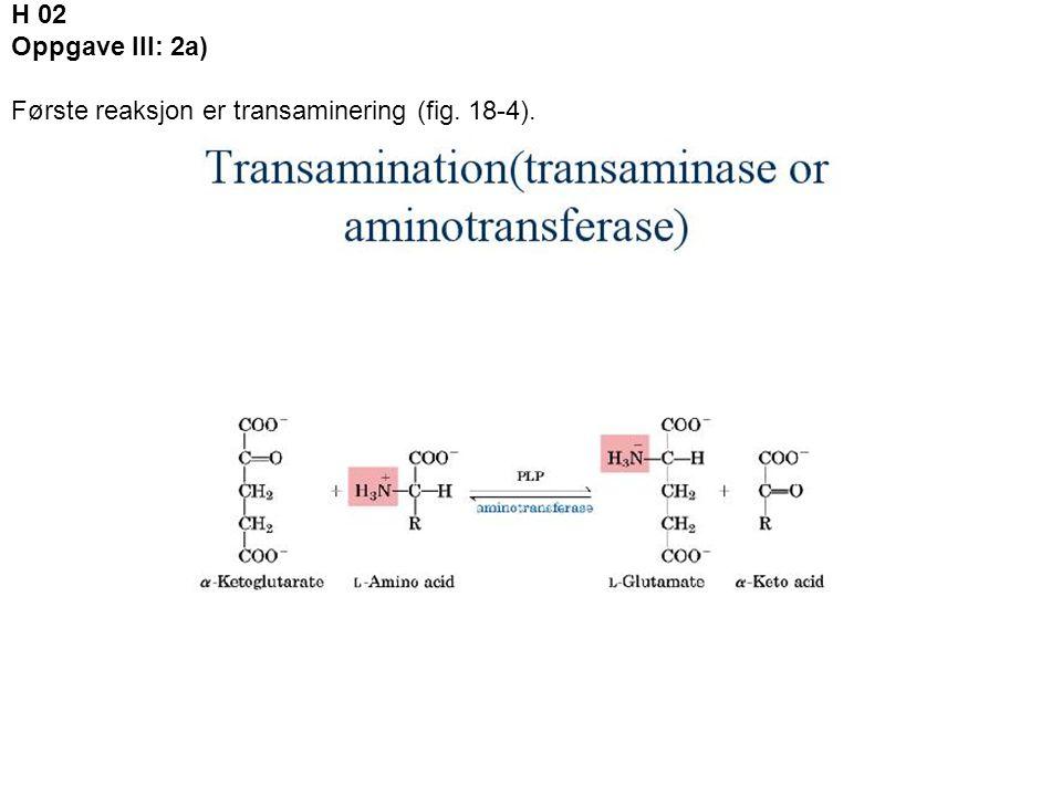 H 02 Oppgave III: 2a) Første reaksjon er transaminering (fig. 18-4).