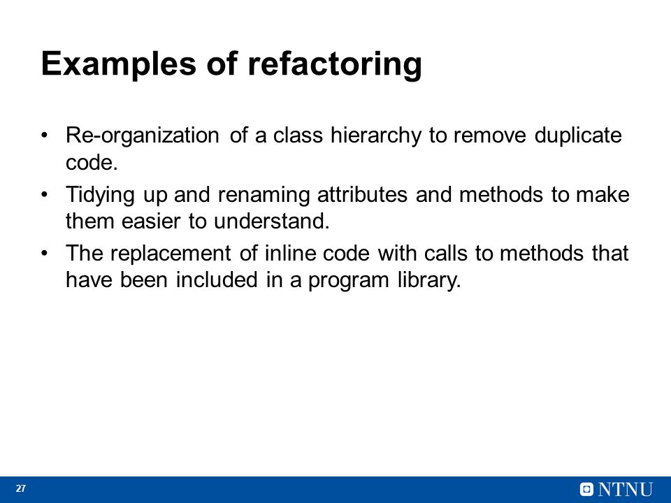 Examples of refactoring