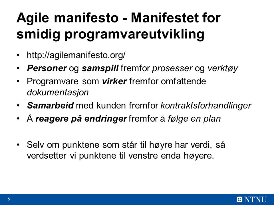 Agile manifesto - Manifestet for smidig programvareutvikling