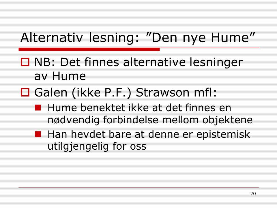 Alternativ lesning: Den nye Hume