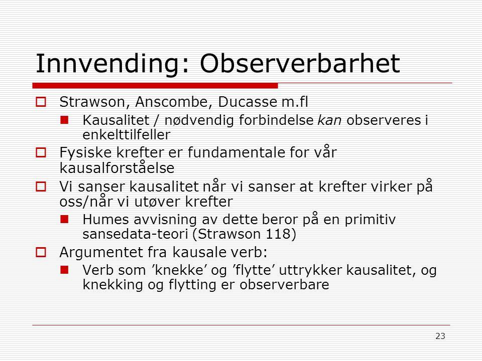 Innvending: Observerbarhet
