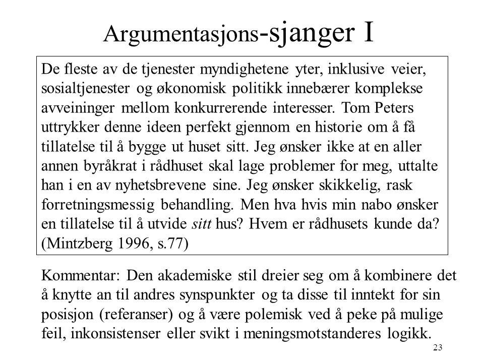 Argumentasjons-sjanger I