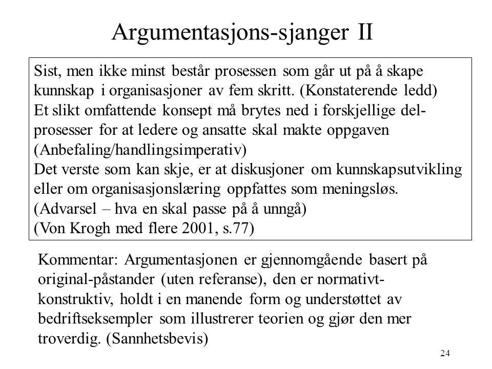Argumentasjons-sjanger II