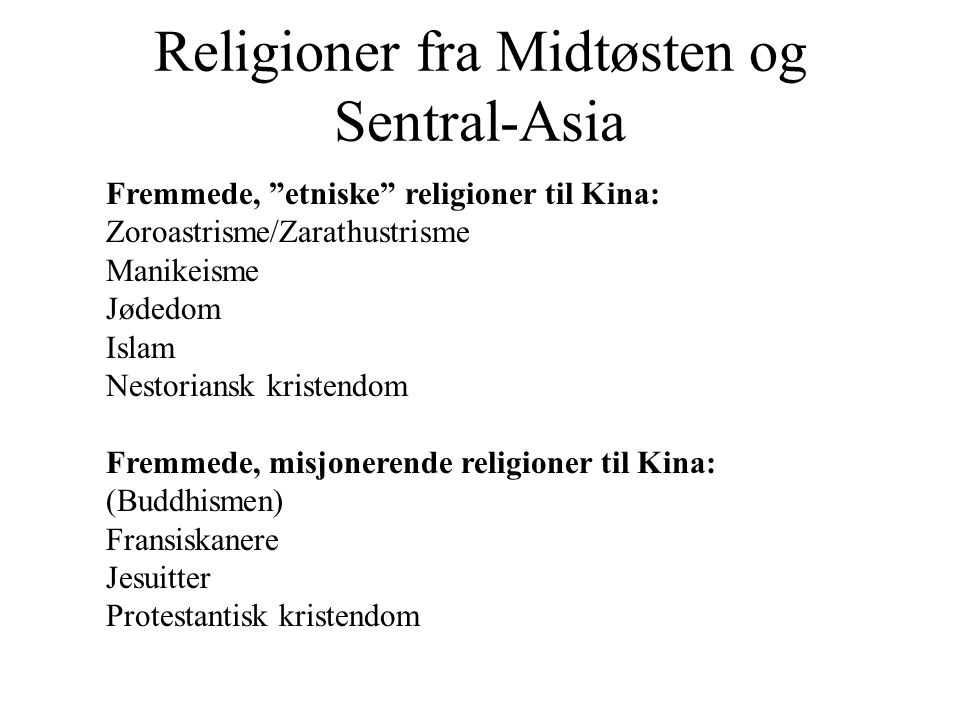 Religioner fra Midtøsten og Sentral-Asia