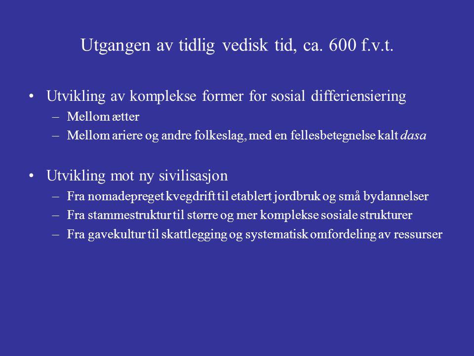 Utgangen av tidlig vedisk tid, ca. 600 f.v.t.