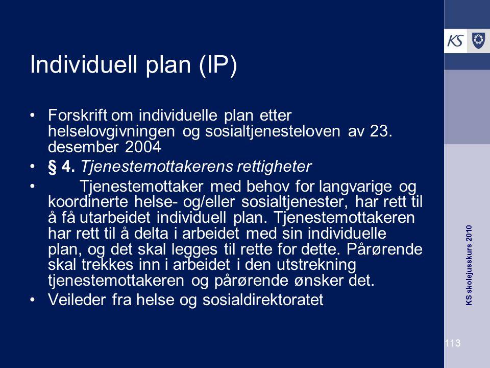 Individuell plan (IP) Forskrift om individuelle plan etter helselovgivningen og sosialtjenesteloven av 23. desember 2004.