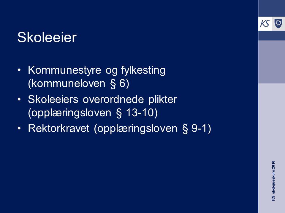 Skoleeier Kommunestyre og fylkesting (kommuneloven § 6)