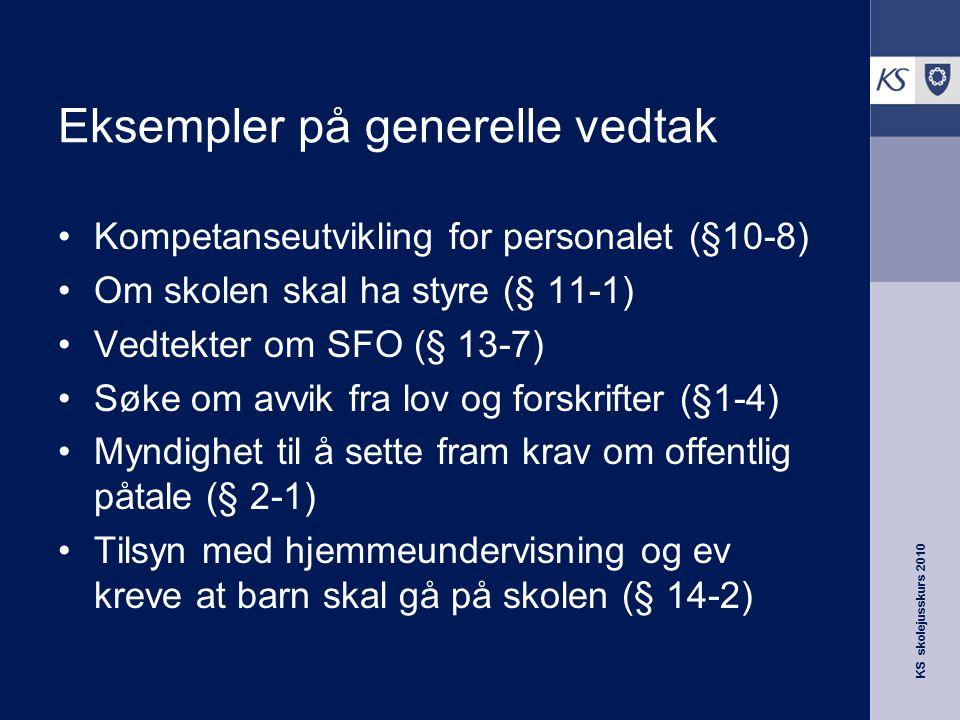 Eksempler på generelle vedtak