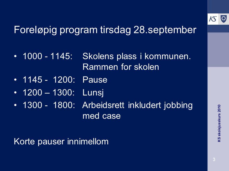 Foreløpig program tirsdag 28.september