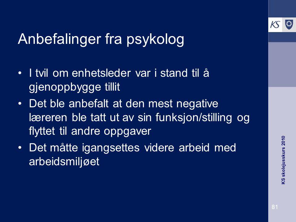 Anbefalinger fra psykolog