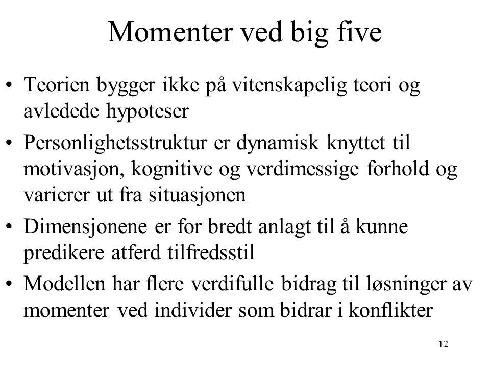 Momenter ved big five Teorien bygger ikke på vitenskapelig teori og avledede hypoteser.