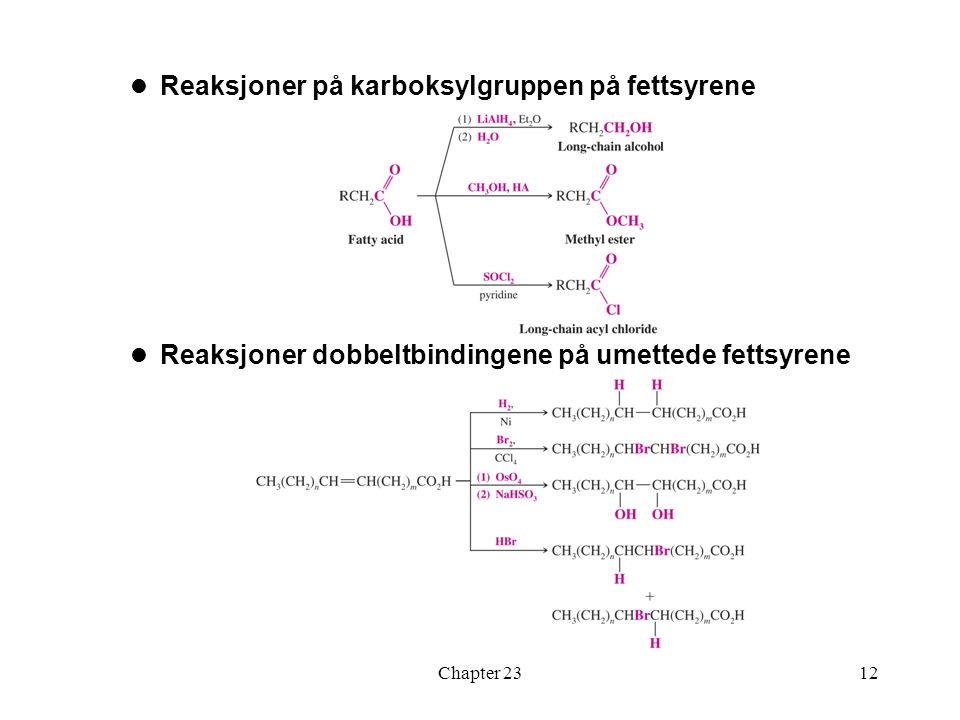 Reaksjoner på karboksylgruppen på fettsyrene