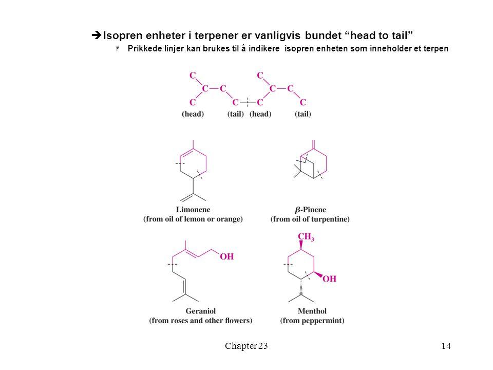 Isopren enheter i terpener er vanligvis bundet head to tail