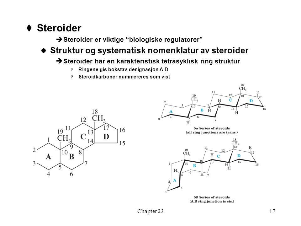 Steroider Struktur og systematisk nomenklatur av steroider