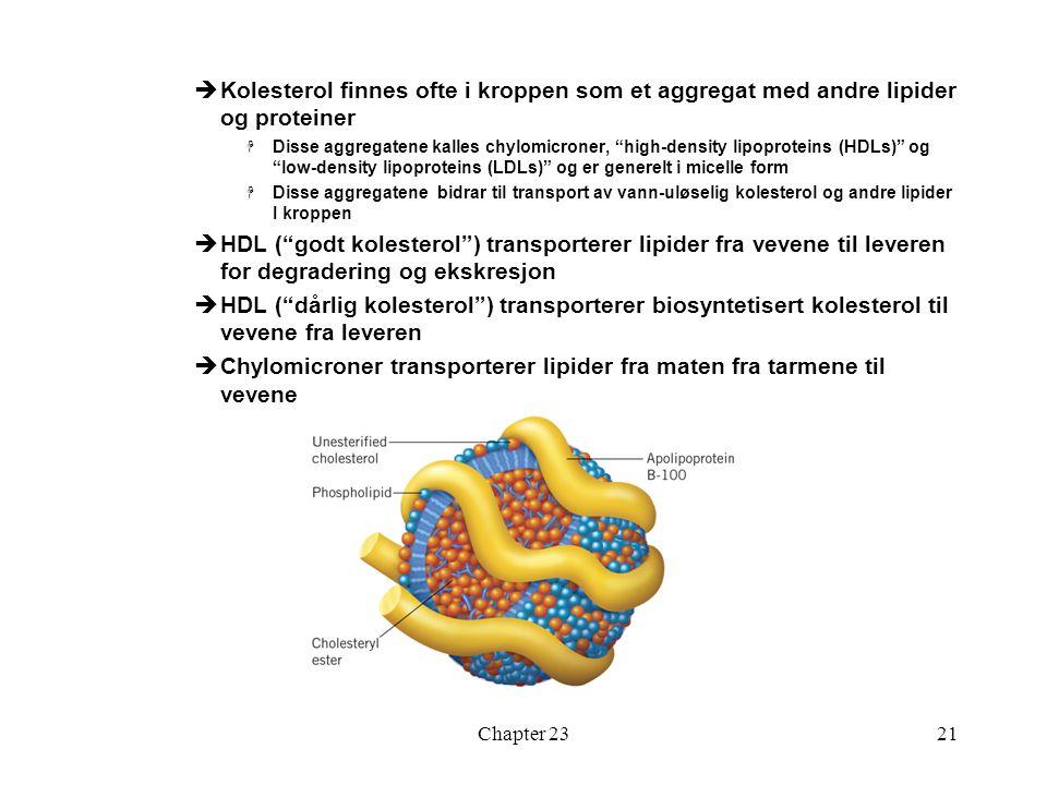 Chylomicroner transporterer lipider fra maten fra tarmene til vevene