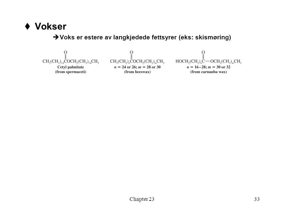 Vokser Voks er estere av langkjedede fettsyrer (eks: skismøring)