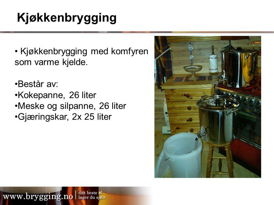 Kjøkkenbrygging Kjøkkenbrygging med komfyren som varme kjelde.