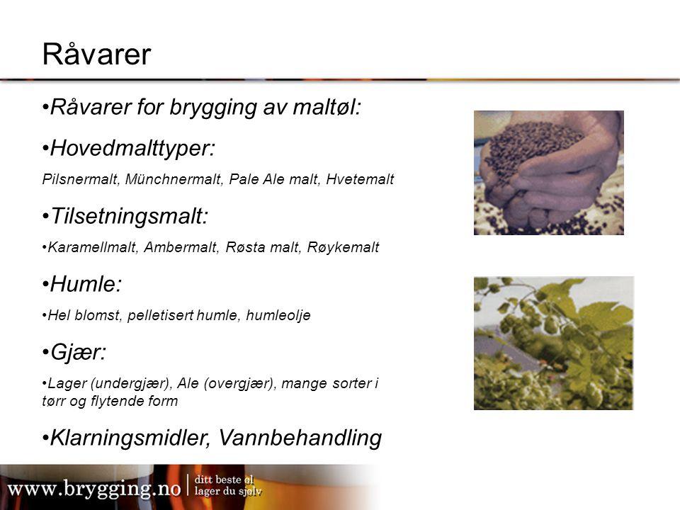 Råvarer Råvarer for brygging av maltøl: Hovedmalttyper: