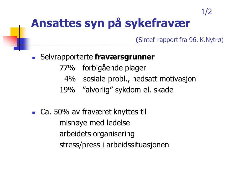 1/2 Ansattes syn på sykefravær (Sintef-rapport fra 96. K.Nytrø)