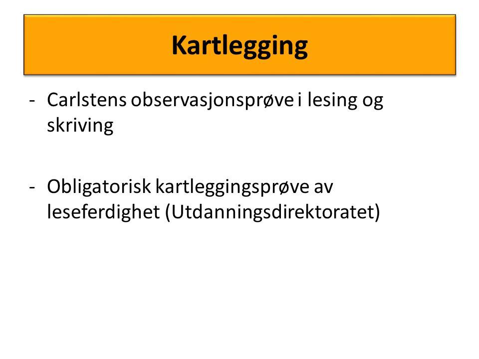 Kartlegging Carlstens observasjonsprøve i lesing og skriving