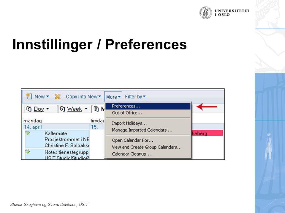 Innstillinger / Preferences