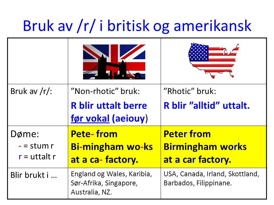 Bruk av /r/ i britisk og amerikansk