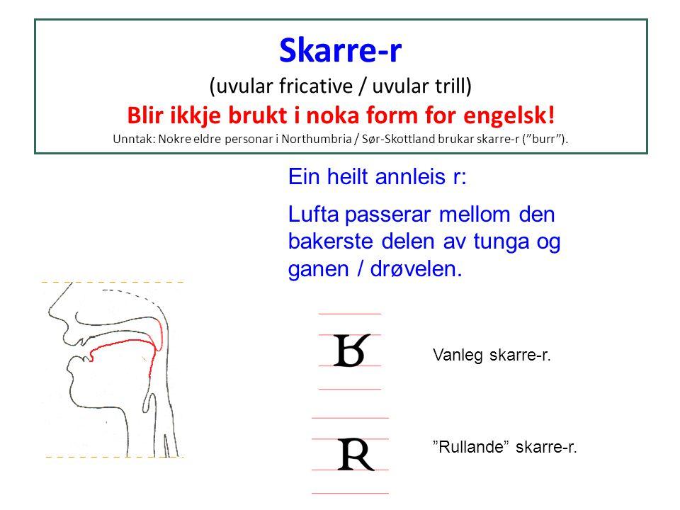 Skarre-r (uvular fricative / uvular trill) Blir ikkje brukt i noka form for engelsk! Unntak: Nokre eldre personar i Northumbria / Sør-Skottland brukar skarre-r ( burr ).