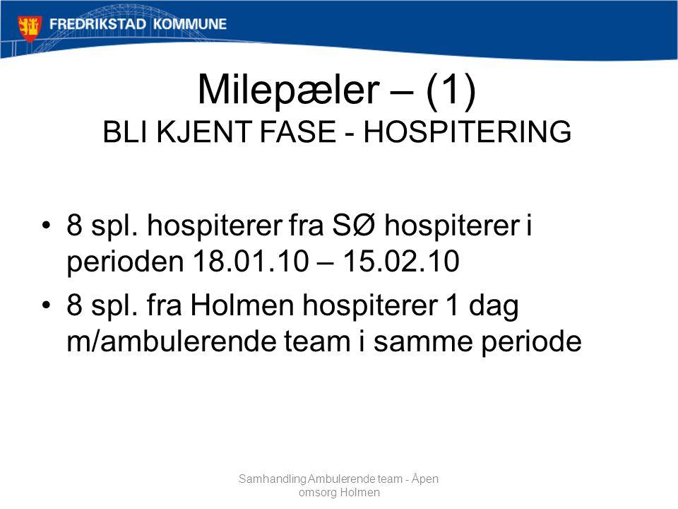 Milepæler – (1) BLI KJENT FASE - HOSPITERING