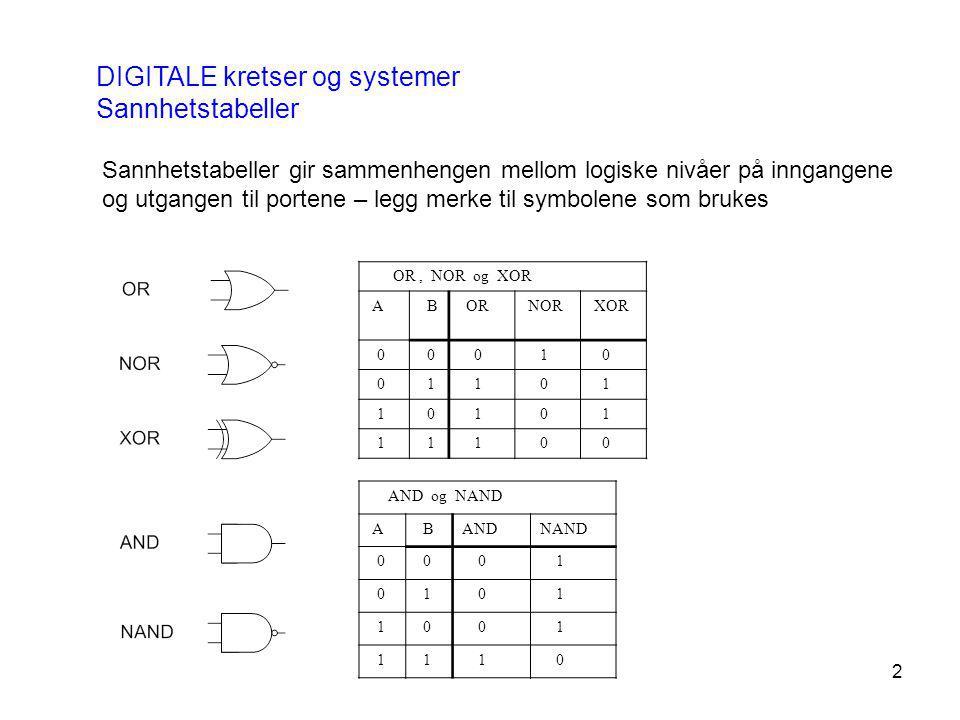 DIGITALE kretser og systemer Sannhetstabeller