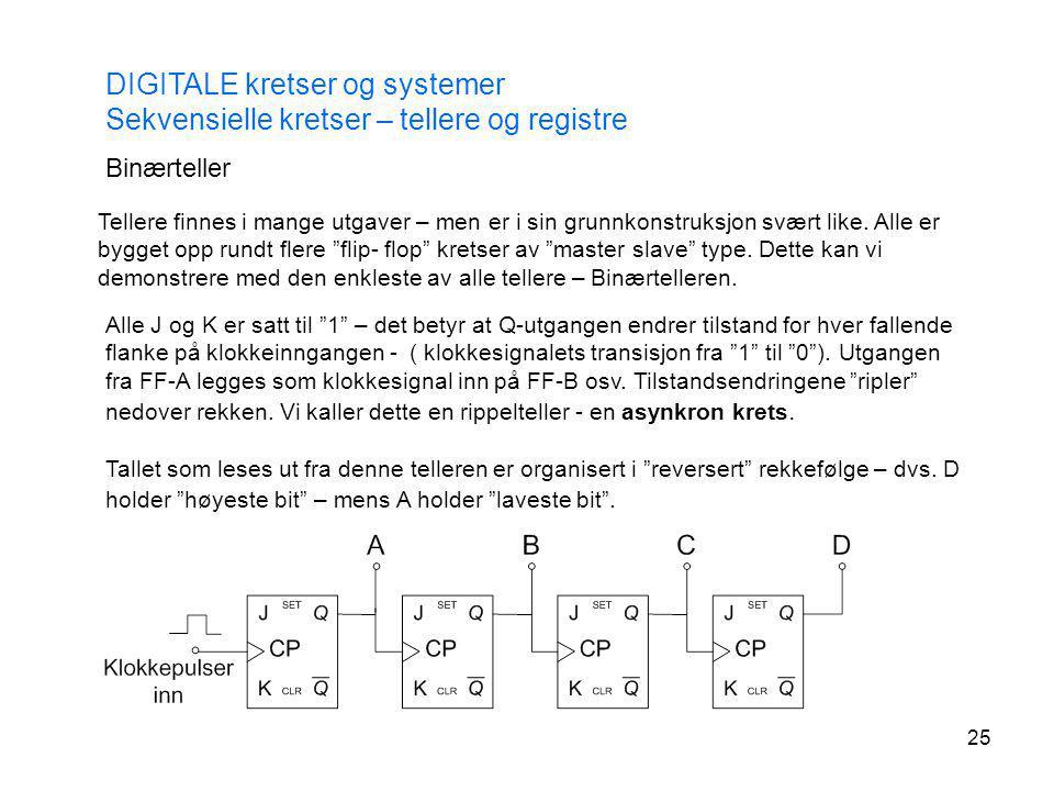DIGITALE kretser og systemer Sekvensielle kretser – tellere og registre