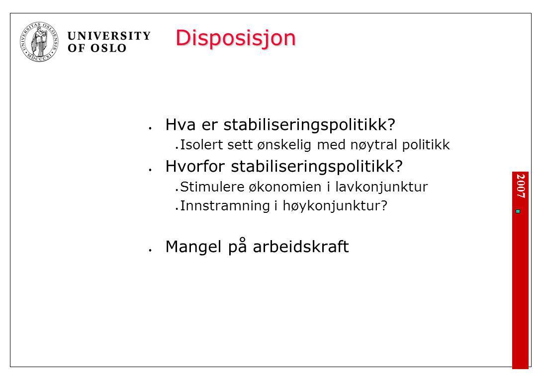 Stabiliseringspolitikk – hvorfor og hvordan