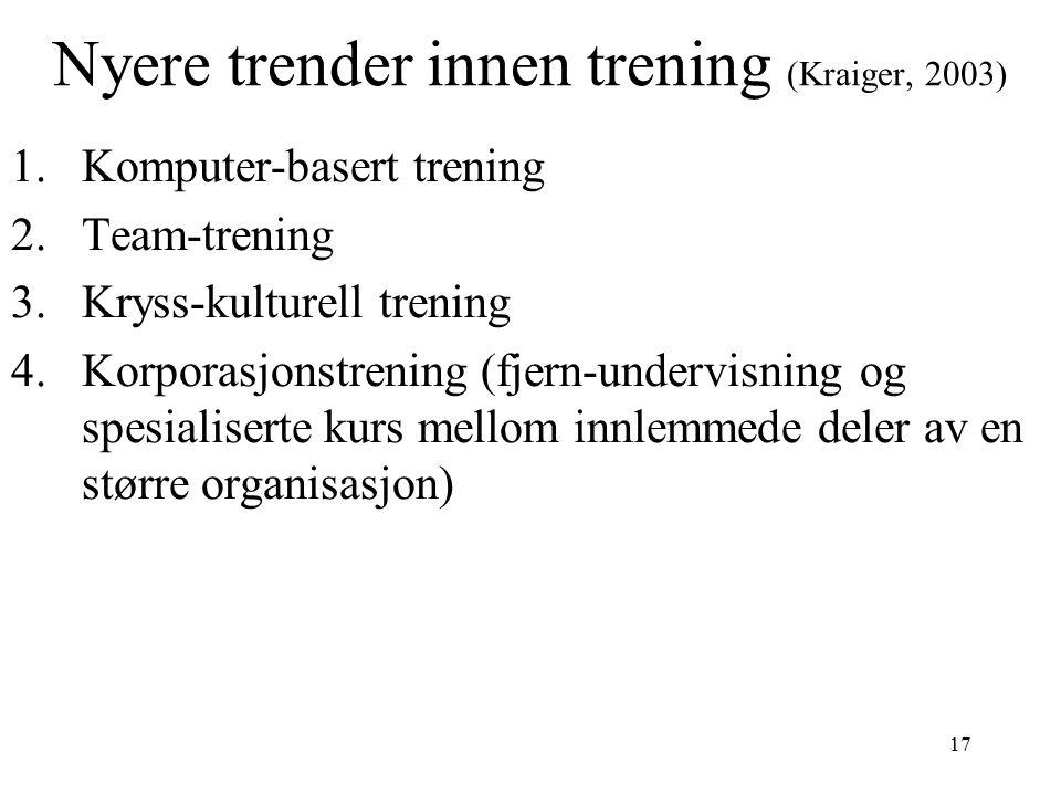Nyere trender innen trening (Kraiger, 2003)